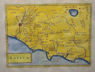 Antique Map of Ancient Rome and its surroundings by Christoph Cellarius 1764
