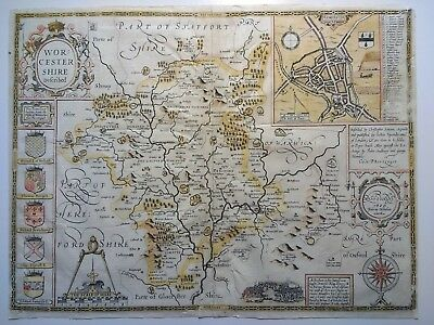 Antique Map of Worcester by John Speed 1623