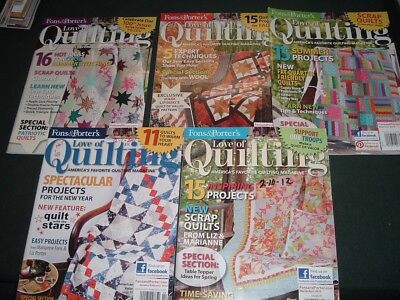 5 Vtg Lot 2013 Fons & Porter's Love of Quilting Magazines Patterns Back Issues