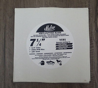 """New Malco VCB1 7-1/4""""  Vinyl Cutting Saw Blade for use on Siding,Fence,Plastic"""