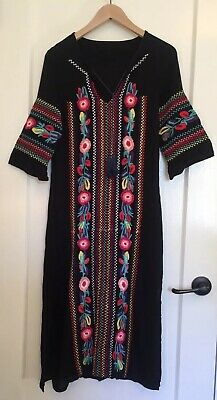 8c6fe796e9f FREE PEOPLE Anthropologie Embroidered Maxi Kaftan Black Women s Small