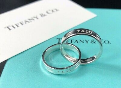 Tiffany & Co. 1837 Interlocking Rings Size 4 Sterling Silver Beautiful!!