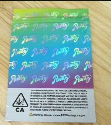100x Runtz NEW HOLOGRAPHIC Mylar Bag Cali Tin