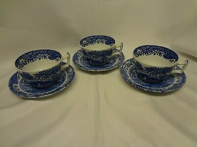 Spode China - Blue Italian - 3 Cup and Saucer Sets