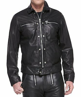 New Mens Leather Jacket Slim Fit Biker Motorcycle Genuine Lambskin Jacket T613