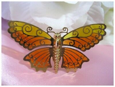 """Vintage AVON Yellow & Orange """"Stained Glass"""" Look Butterfly Brooch/Pin"""