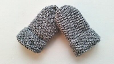 Children's Hand Knitted Mittens, Grey, Acrylic & Wool, 2-4 Years New