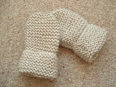 Children's Hand Knitted Mittens, Beige, Acrylic Wool, 2-4 Years New