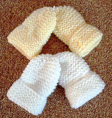 Baby Hand Knitted Mittens, 2 Pairs -  White & Lemon, 0-3 Months, New