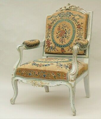 French Antique Louis XV  Style Upholstered Armchair 19th Century