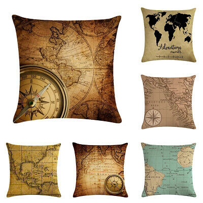 "18"" Throw Pillow Case Cushion Cover Home Decor Vintage World Map Pattern Cojines"