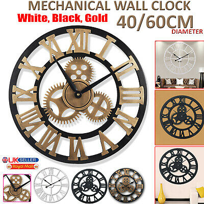 60cm/40cm Large Roman Wall Clock Metal Giant Numerals Round Face Outdoor Garden