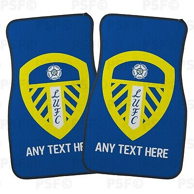 Official LUFC Personalised Car Mats Set of 2 Front Crest Blue Leeds United FC