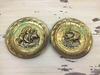 OCEAN SHIP BRASS PLATES - Vtg Made In England Set Of 2 Nautical Wall Hanging