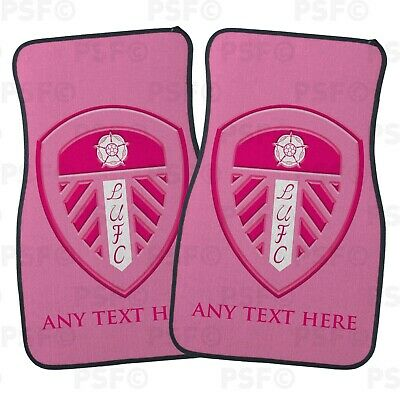 Official LUFC Personalised Car Mats Set of 2 Fronts Pink Crest Leeds United FC