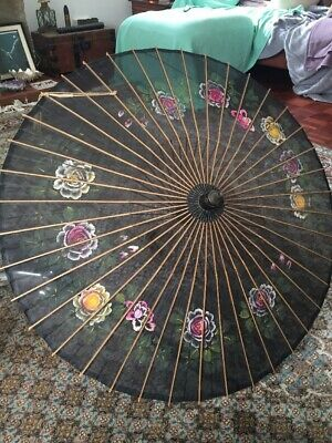 Vintage Authentic Hand Painted  Chinese Parasol