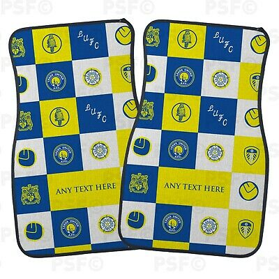 Official LUFC Personalised Car Mats Set of 2 Fronts Chequered Leeds United FC