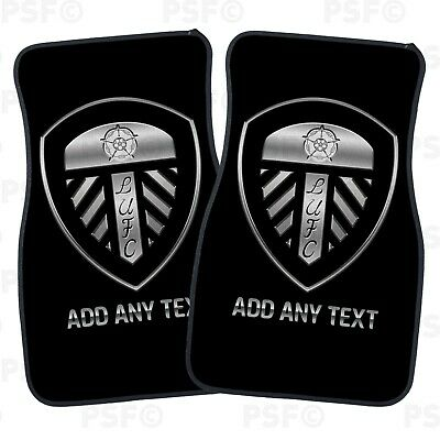 Official LUFC Personalised Car Mats Set of 2 Fronts Black Tonal Leeds United FC