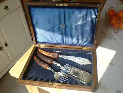 Large 19th Century Victorian Fish Servers Silver Plated, Hand Engraved, Oak Box