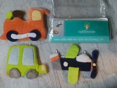 Tiddliwinks Come Ride With Me 3 Pc Velour Wall Art Car Plane Train For Nursery