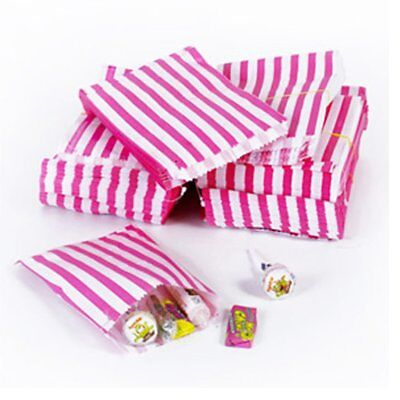 100 x The Paper Bag Candy Stripe Paper Bags, 5 x 7 Inches - Pink / STRONG BAGS
