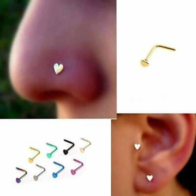 2pc Prong Ring Stud Set Love L-Shaped Nose Ring Body Piercing Studs Jewelry