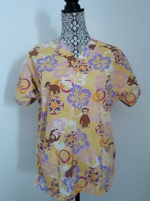 df9f74eab6b Curious George Large Monkeying Around Scrub Top Yellow Floral Size L 24