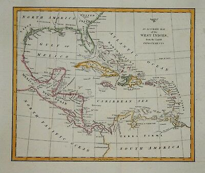 An Accurate Map Of The West Indies Pub. By Robert Wilknson, 1807
