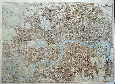 Impressive & Large Hand Coloured Map Of London By G.w. Bacon, Published C.1880.