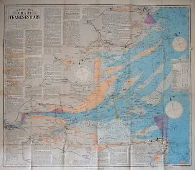 London - Reynolds's New Chart Of The Thames Estuary, Corrected To 1893.