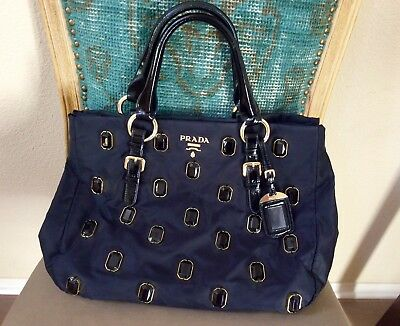 ba2d1578f361b8 Prada Black Tessuto Nylon Naplak Jeweled Pietre Gem Tote gold tone accent
