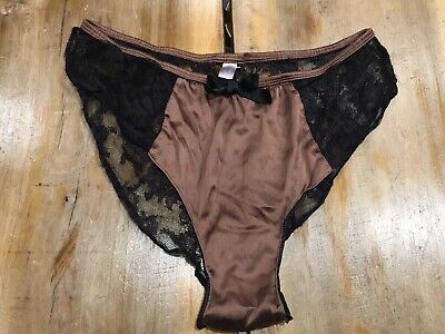 Victoria's Secret Vintage Satin And Lace High Thigh Side Slit Panties Size  Med