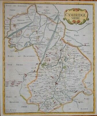Cambridgeshire By Robert Morden For Camden's Britannia 1695.