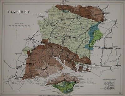 Hampshire - Stanford's Geological Atlas, Published 1914.