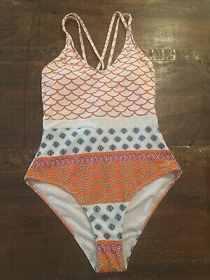 4ebc847fa63f1 CUPSHE Women's Beautiful World Print One-piece Swimsuit High Waisted  Swimwear/M