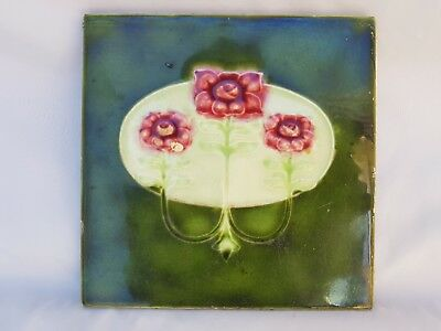 Pretty Minton Hollins Art Nouveau Tile, Floral, Green And Pink