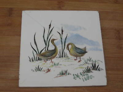 Minton Hand Hand Painted Water Birds Tile Artist Signed