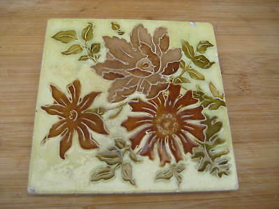 Flaxman Tubelined Flowers Colourful Period  Tile