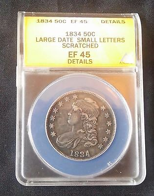 1834 Capped Bust Silver Half Dollar Coin ANACS EF-45 Details Scratched ((266))