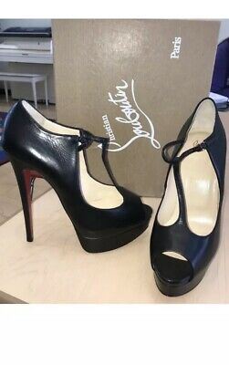 73eeadca8ab CHRISTIAN LOUBOUTIN ALTAPOPPINS 150 Black Leather Platform T Strap ...