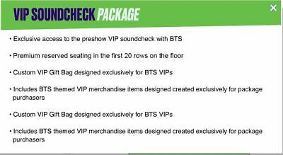 BTS –  VIP Soundcheck Package Tickets Rose Bowl (5/4/2019 Sat)  ** 1 TICKET **