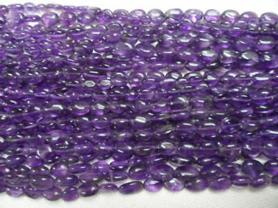 """5 Strands Lot Natural Amethyst Oval 6x9-7x10mm Approx 13""""inch Gemstone Beads"""