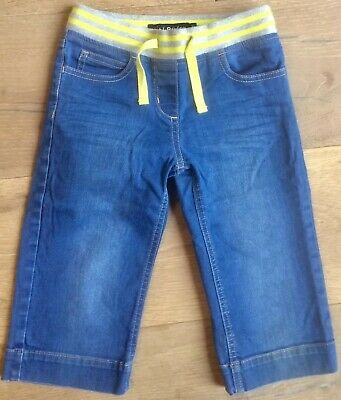 Mini Boden 8 year girl cropped trousers jeans shorts denim yellow pockets summer