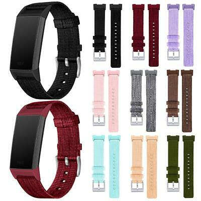 For Fitbit Charge 3 Strap Woven Nylon Fabric Watch Band Replacement Wristband