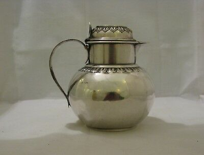 ANTIQUE ENGLISH STERLING SILVER HOT MILK JUG, LONDON, 1887, makers mark rubbed