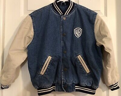 Warner Brothers Vintage Denim Embroidered Looney Tunes Varsity Jacket Kids L/XL