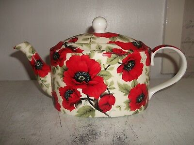 new heritage fine bone china large poppy pattern tea/coffee pot.