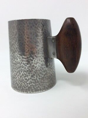 Rare Wooden Handled Art Dec Pewter Tankard H9.5 W10.5 cms