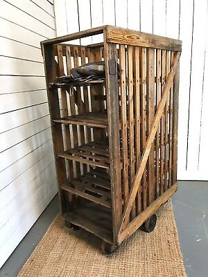 Old English pine and cast iron Paper factory trolley, Shop display, Industrial