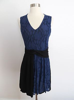 dd8d0a44ec6b7 Anthropologie Leifnotes size SMALL blue and black lace print sleeveless  dress